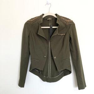 La Rok Luxe Olive Green Tuxedo StyleStudded Jacket
